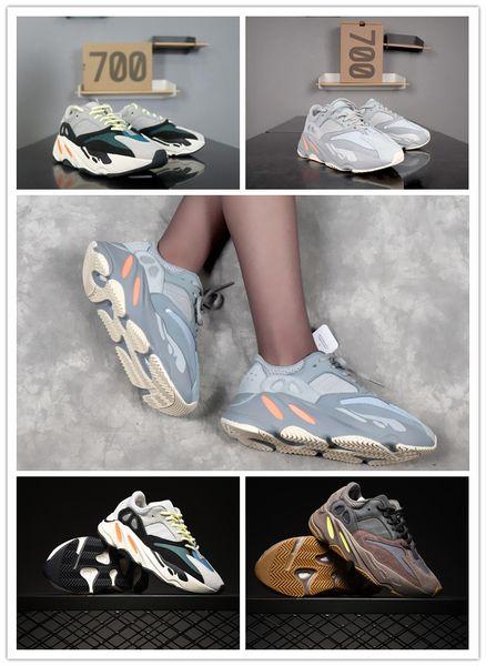 2019 INERTIA 700 Kanye West Wave Runner estático 3M reflectante de color malva sólido gris zapatillas deportivas hombres mujeres zapatillas deportivas tamaño B355