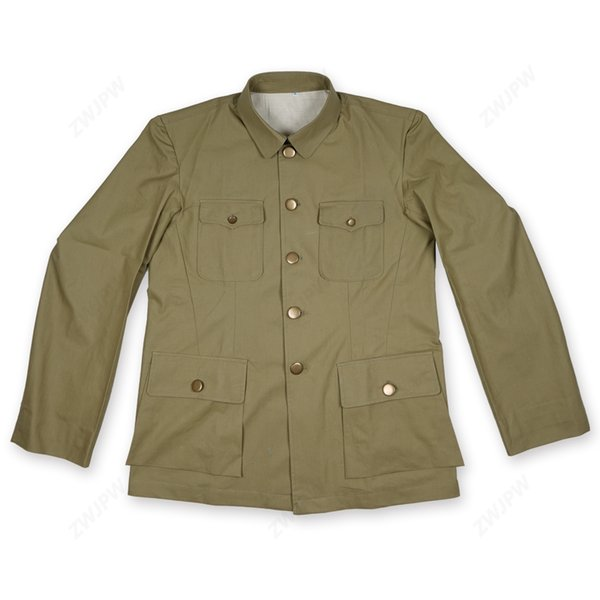 World War Two MEN UNIFORM TYPE CHINESE SUIT Officers Of The Anti - Japanese Grass Green Jacket Copy Film Export Pure Cotton