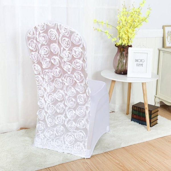 Marious Factory Price 100pcs/lot white rosette chair cover for wedding party home chair decoration free shipping Wholesale
