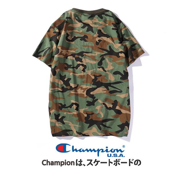 Мужская футболка 2019 Лето Новый бренд одежды Мода Камуфляж с коротким рукавом Уличный стиль Мужская одежда Дышащие Тройники