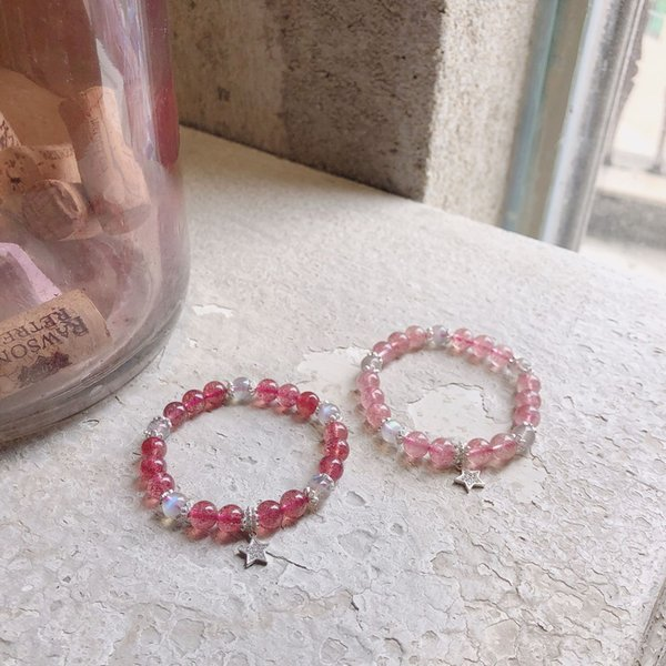 Young spirit natural pigeon blood red rose strawberry crystal bracelet and gray moonlight with beautiful S925 sterling silver