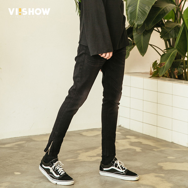 VIISHOW New Skinny Jeans Men Brand Clothing Solid Thin Pencil Denim Pants Male Top Quality Ripped Jeans For Men Biker NC1114181