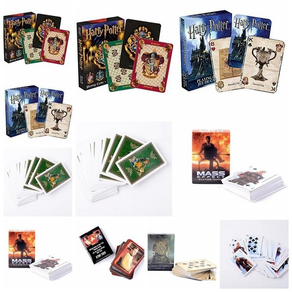 6styles Harry Potter Game Playing Cards Hogwarts House Game of Thrones Mass Effect Poker Waterproof Game Cards Party Favor by boomboom