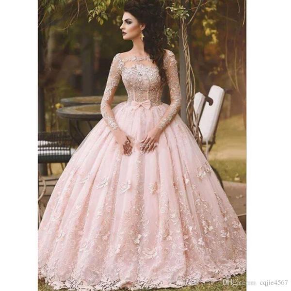 2019 Rosa Langarm Prom Kleider Ballkleid Spitze Appliziert Bogen Sheer Neck Vintage Sweet 16 Mädchen Debütanten Quinceanera Kleid Abendkleider