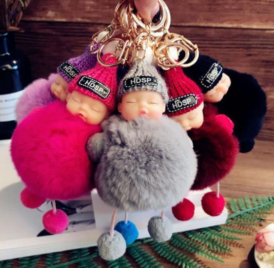 Bonito Dormir Boneca Chaveiro Chaveiro de Pele De Pompom Bola Chaveiros Chaveiro Carro Pom pom Brinquedos Chapéus De Malha Beannie anel Chave