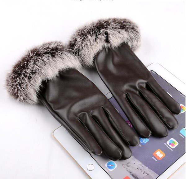 Hot Womens winter real Rabbit hair pu leather gloves Thick lining Fashion Warm Gloves 5 Colors for choices