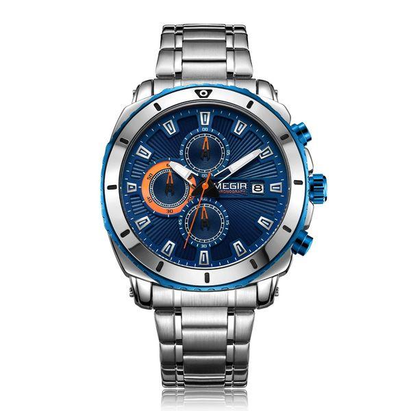 BRW Mens Watches Top Brand Luxury Steel Band Watch Men Military Sport Chronograph Quartz Wrist Watch Army Clock Men Blue 2018