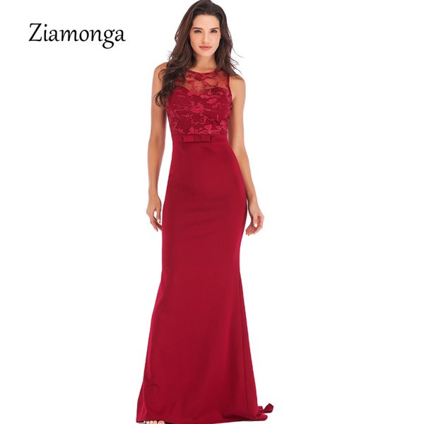 Ziamonga Runway Style Mermaid Formal Party Dresses 2019 Bow Sleeveless Long Lace Dresses Cheap Wedding Guest Gown Robe De Soiree