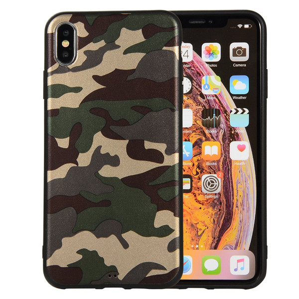 Camouflage Slim-Fit Anti-Scratch ShockProof Anti-Finger Flexible TPU Gel soft Case for iphone X XS XR XS MAX