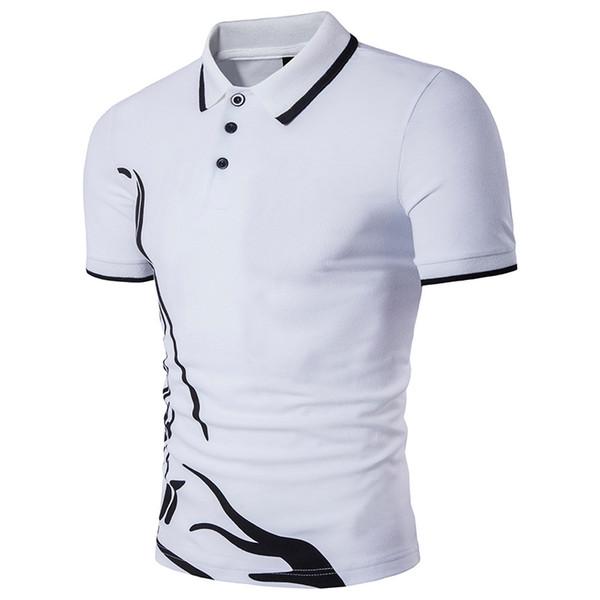 Lapel européenne vent Imprimer T-shirt ras du cou mince hommes respirant Quick Dry Plus Size manches courtes Homme