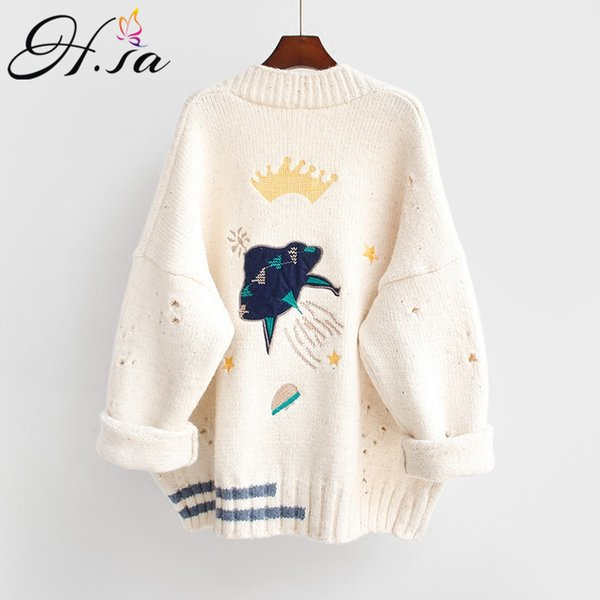 Hsa 2018 Autumn Winter Women Sweater Cardigans Cartoon Embroidery Cardigans Poncho Single Breasted Knit Sweater Harajuku Out Top T3190601