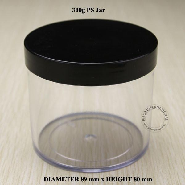 300g/10oz Empty Plastic Jars With BLack Lid 300ml PS Containers For Makeup Hand Cream Cosmetic Packaging Pot 10pcs Free Shipping