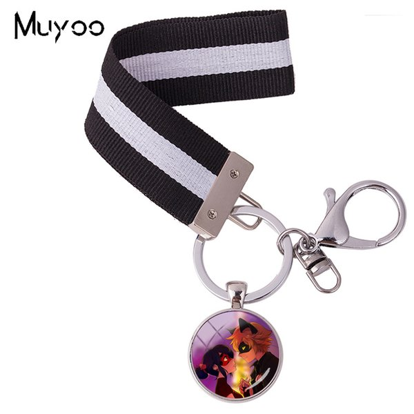 2018 New Fashion Anime Ribbon Key Chain Jewelry Glass Dome Bag Holder Silver Photo Pendant Colorful Keyring Gift