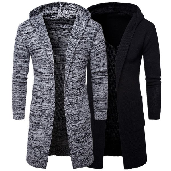 Мужские длинные свитера 2019 зима новый случайный сплошной цвет длинный кардиган модные уличные толстовки теплые свитера черный серый M-xxl