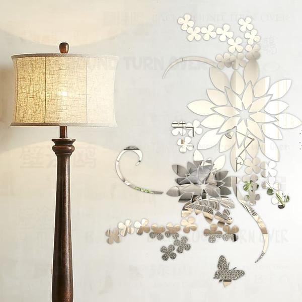 Kreative DIY 3d stiefmütterchen große blume wandtattoos acryl dekorative spiegel aufkleber für wohnzimmer schlafzimmer dekor wandbild R066