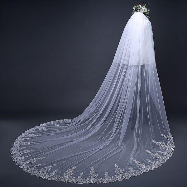 Lace Wedding Veils 3.8*3m Wedding Bridal Hair Accessories Wedding Accessories Bridesmaid Veils With Comb Cheap Bridal Accessories