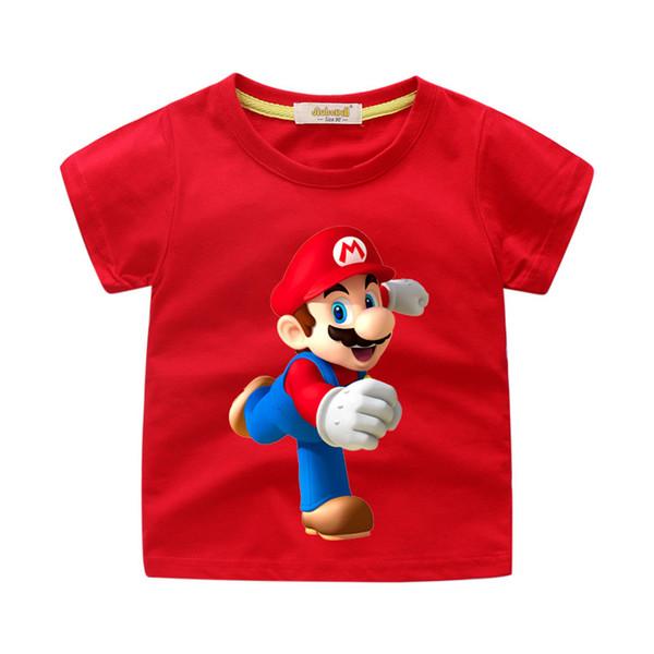 2019 Bebê Dos Desenhos Animados Mario Impressão Tee Tops Roupas Para Crianças Roupas Menino Verão T Shirt Meninas T-shirt Crianças Tshirt Branco