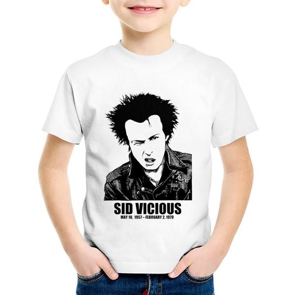 Fashion Print Sid Vicious Dead Headline Children T-shirts Kids Rock Roll Summer Tees Boys/Girls Casual Tops Baby Clothing,HKP754