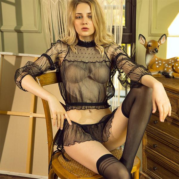 2019 nouvelle arrivée amusante perspective de goût de sous-vêtements maille fendue en trois points lingerie sexy 3 ensembles