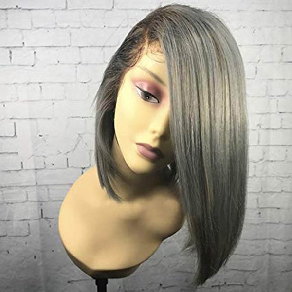 Grey Ombre Human Hair Full Lace Wig Short Bob Virgin Peruvian 1B Silver Silky Straight Brazilian Lace Front Wigs With Baby Hair