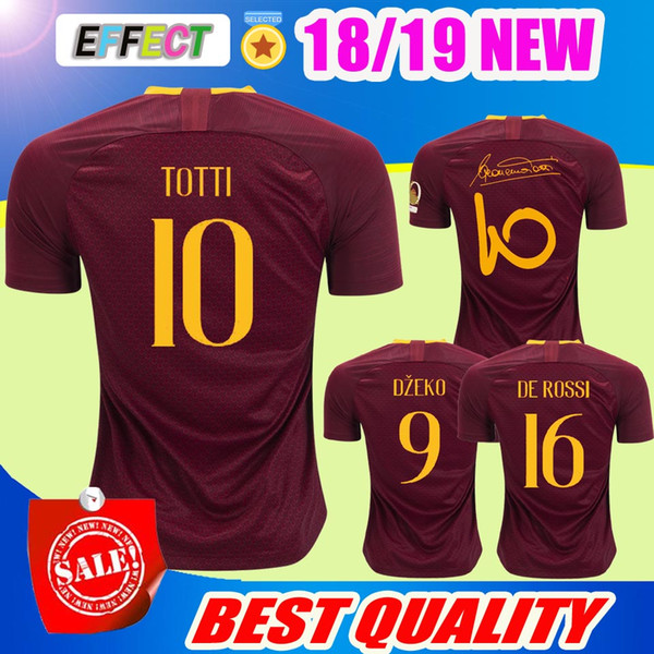 2018 TOTTI Home Red Soccer Jersey 18 19 DE ROSSI Soccer Shirt Customized 2019 DZEKO EL SHAARAWY short sleeve Romass football uniform Sales