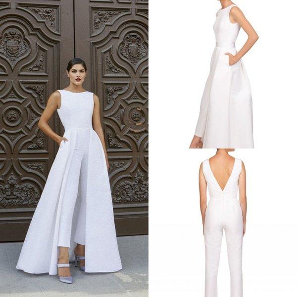 Élégant Blanc Motif Floral Robes De Soirée 2019 Jewel Neck Combinaisons Filles Pageant Costumes Formelle Parti Robes De Bal