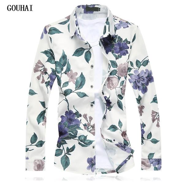 2019 hombres nuevos camisa de manga larga camisas de vestir masculinas moda casual camisa floral de manga larga t2190606