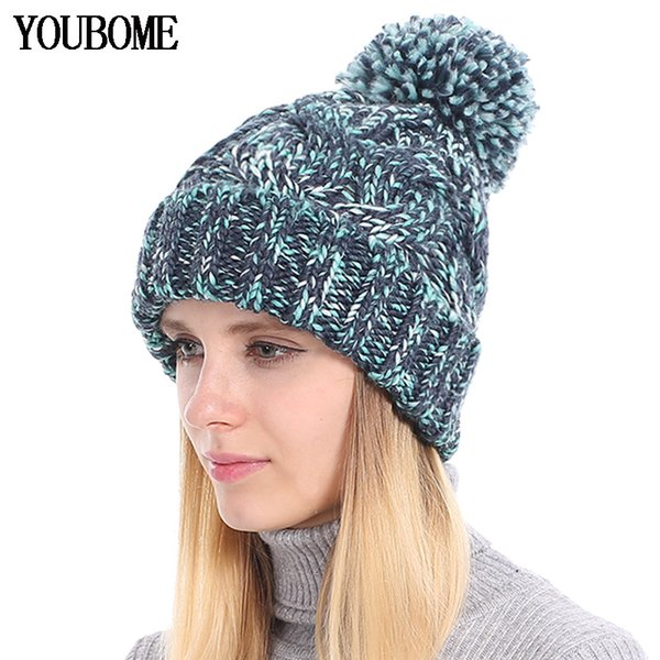 YOUBOME Fashion Winter Beanie Female Winter Hats For Women Skullies Beanies Baggy Girls Warm Striped Lady Caps Knitted Hat 2018 S18120302
