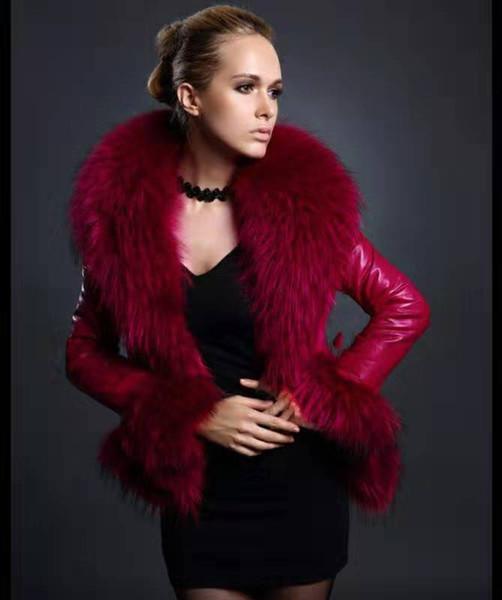 best selling Winter Womens Designer Jacket Fashion Faux Leather Solid Color Fur Trim PU Jacket Luxury Womens Coat