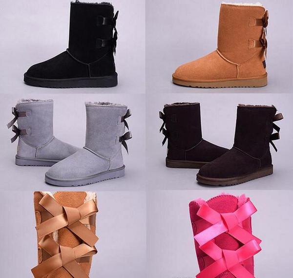 3280 style bottes de neige bowtie de mode australie classique hautes bottes d'hiver en cuir véritable bottes de neige femmes bowknot chaussures cadeau de noël