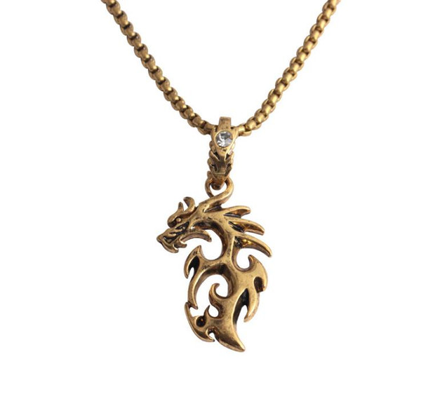European and American personality hegemonic hip-hop necklace fashion creative flame Dragon Pendant inlaid with diamond retro Necklace Jewelr