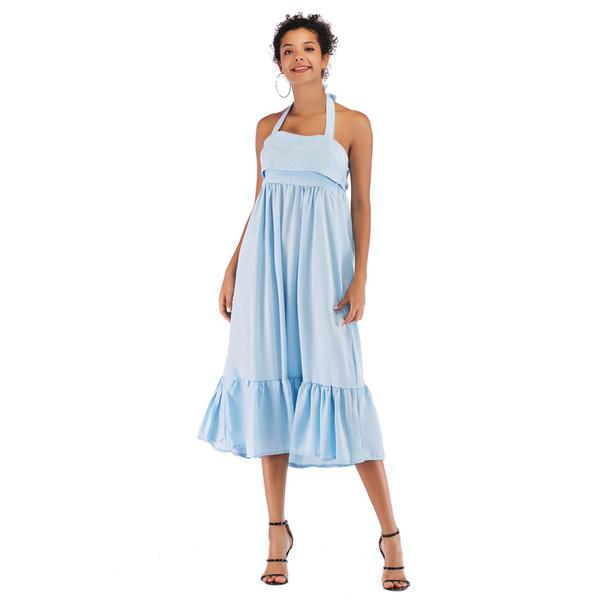 4e9ccba1a681 Women's Explosion Solid Color Halter Ruffle Dress Fashionable Halter Midi  Dress New Fashion Female Popular Trend