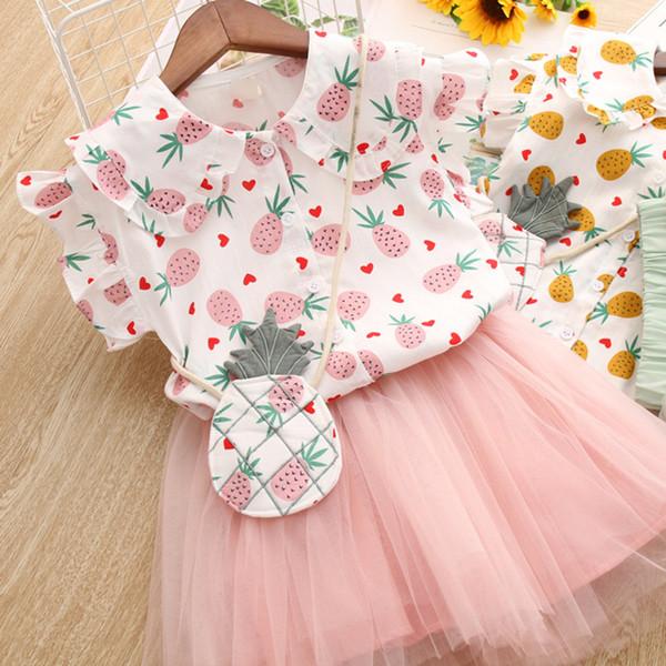 Плоды ананаса с принтом для девочек и девочек, комплекты милой одежды, рубашки + юбка-пачка на сетке, повседневный костюм, детская бутик, одежда