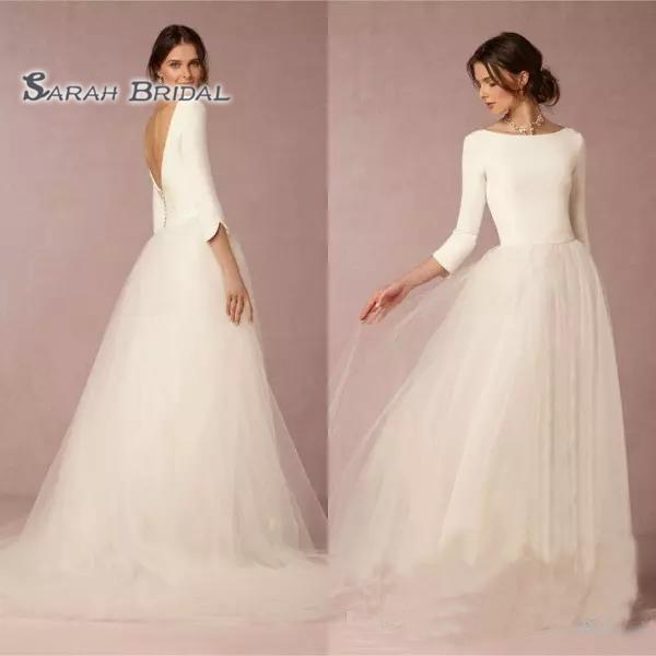 best selling 2019 Vintage Simple A-Line White Wedding Dress Beach Sexy Long Sleeves Backless Evening Wear Formal Gown High-end Wedding Boutique