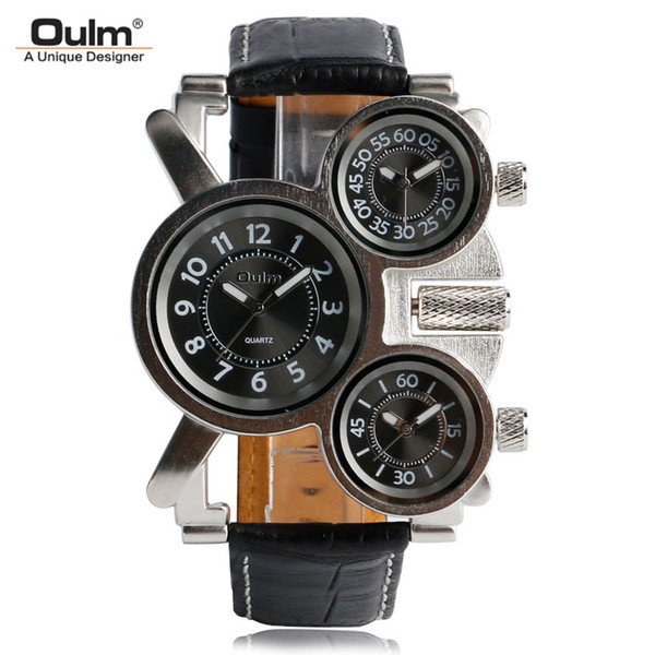 watches for OULM Unique Watches Three Time Zone Large Big Size Irregular Dial Real Leather Strap Military Men's Wristwatches Male Clock