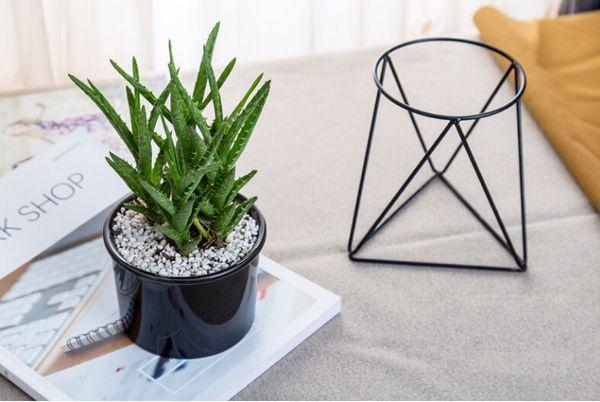 украшение рабочего стола Nordic мясистые цветочный горшок кованого железа ваза простой железный каркас цветок стоять керамический гидропоники цветочный горшок