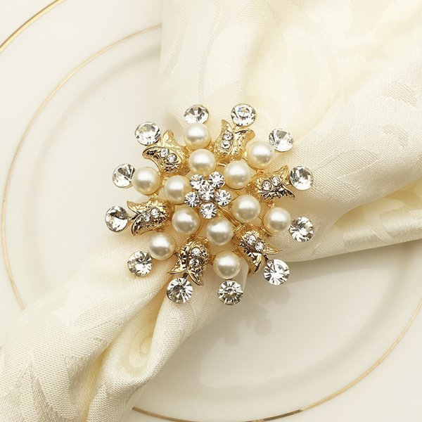 Flower Pearl Napkin Ring Diamond Napkin Holder Rhinestone Round Buckle Hotel Wedding Party Circle Decoration 10pcs/lot