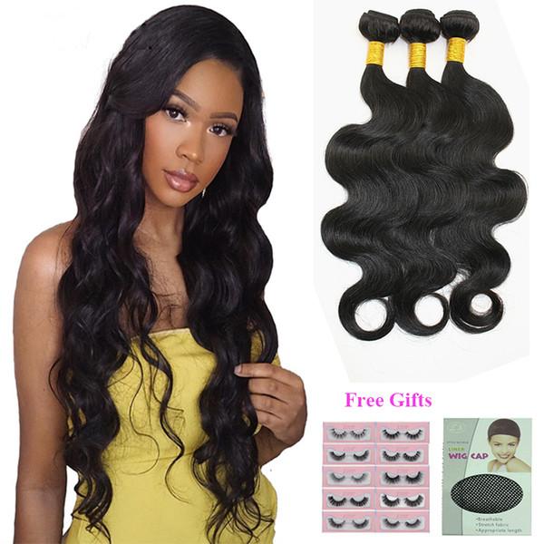 8-28inch brasileña onda del cuerpo del pelo Extensiones 3 o 4 lotes de 50 g india peruana de Malasia humano de la Virgen de la armadura del pelo