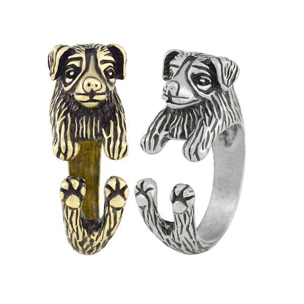Vintage Silver Bronze Australian Shepherd & Border Collie Dog Ring Man Boho Chic Animal Rings For Woman Girls Children Pet Jewelry Baby Gift
