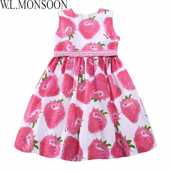 W.L.MONSOON Girls Summer Dress with Beading Sashes 2019 Brand Robe Enfant Kids Clothes Costumes Princess Pink Strawberry Dresses