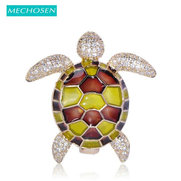Toptan Saydam Emaye Kaplumbağa Şekil Broş Kadınlar Için Kübik Zirkonya Hayvan Broşlar Çocuk Yaka Iğneler Coat Suit Dekorasyon