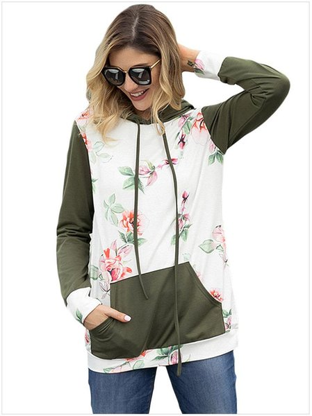 Women Flroal Printed Sweatshirts Thin Panalled Long Sleeve Pullovers with Pockets Hot Sale Slim Fit Women Clothes EUR Size