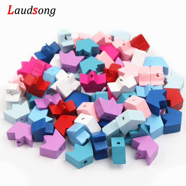 beads diy Wood Crown Spacer Wooden Beads 30pcs Findings for Jewelry Making Baby Crafts Kids Necklace Pacifier Clip DIY 8x12x18mm