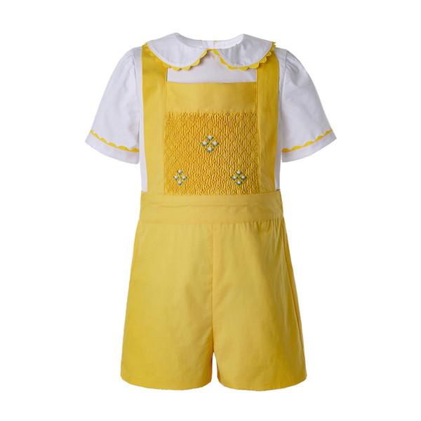 Pettigirl Yellow Baby Boys Ropa de verano para niños Ropa de diseñador para niños Conjuntos con camiseta blanca y pantalones cortos casuales amarillos B-DMCS201-B490