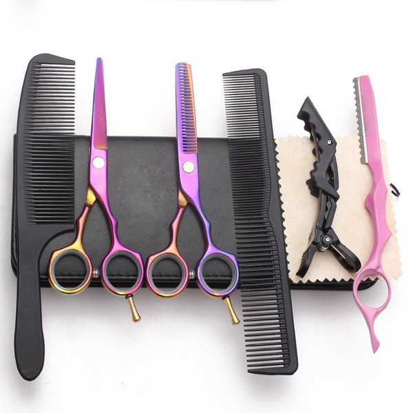 best selling 6 in 1 Hair Cutting Scissors Thinning Shears Barber Styling Tools Makas Hairdressing Scissors Razor Salon Professional Hair Tools