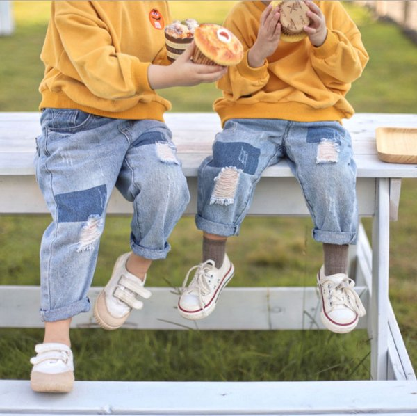 Fashion Kids jeans boys hole casual denim pants girls contrast color double pocket cowboy trouser fall new children clothing F9535