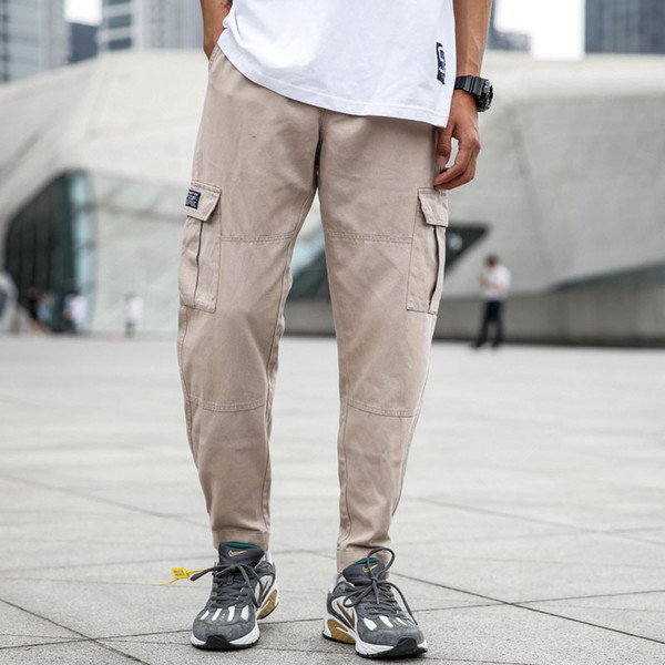 Japanese Style Fashion Mens Jeans Casual Pants Jeans Men Punk Style Hip Hop Trousers Big Pocket Cargo Pants,Army Green Khaki