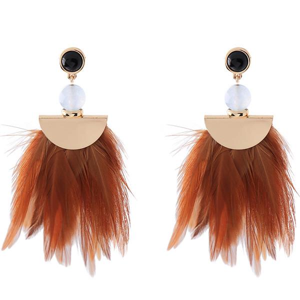 Feather earrings long Bohemian temperament holiday ultra fairy tassel earrings female ethnic style retro dangle chandelier