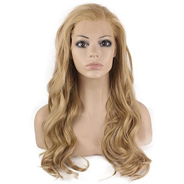 Fashion Quality Natural Hairline Blond Long Wavy Lace Front Wig Half Hand Tied Heat Resistant Fiber Synthetic Hair Cosplay Wig for Women