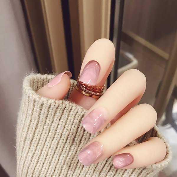 Fashion Ins Sweet False Nails With Glue For Women Girl Light Pink Marble Designs Artificial Nail Daily Short Smooth Nail How To Do Acrylic Nails Nail